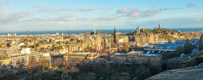 Edinburgh panorama. Panorama view with roofs of medieval buildings in Edinburgh in  Scotland, UK Royalty Free Stock Photography
