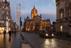 Edinburgh Roal Mile and St. Giles cathedrale. Royalty Free Stock Photography