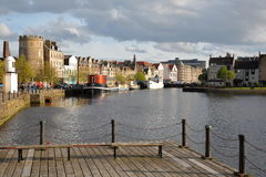 EDINBURGH, SCOTLAND – MAY 5, 2016 : The Quayside in Leith district in the North of Edinburgh. The Quayside in Leith district in the North of Edinburgh Royalty Free Stock Image