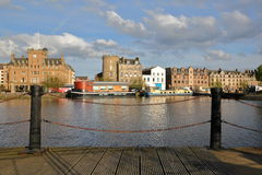 EDINBURGH, SCOTLAND – MAY 5, 2016 : The Quayside in Leith district in the North of Edinburgh. The Quayside in Leith district in the North of Edinburgh Royalty Free Stock Photography