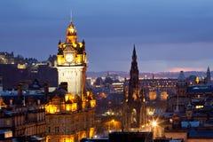 Edinburgh Scotland. Edinburgh Clock Tower and scott monument from Calton Hill at dusk Scotland UK Stock Photography