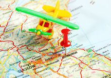 Edinburgh   scotland airplane map Royalty Free Stock Photo