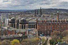 Cityscape of old town Edinburgh from Princess Street Gardens towards the University of Edinburgh, Scotland, UK stock photo