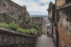 Walkway inside the complex area of Edinburgh Castle, Scotland, UK Royalty Free Stock Photo