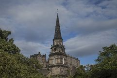 Edinburgh, Scotland - the architecture. This image shows a view of an old building in Edinburgh, Scotland stock photo