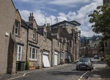 Edinburgh, Scotland - the architecture - a street. This image shows a view of an old building in Edinburgh, Scotland. It was taken on a sunny day in July 2018 stock photos