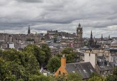 Edinburgh, Scotland - the architecture - a view from Calton Hill. This image shows a view of the old town in Edinburgh, Scotland. It was taken on a sunny day in royalty free stock photo