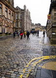 EDINBURGH, SCOTLAND-JANUARY 20: Royal Mile street in Edinburgh, Royalty Free Stock Photo