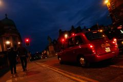 Night shot of Edinburgh street royalty free stock photography
