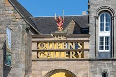 Main entrance with golden name to the Queens Gallery Edinburgh royalty free stock photography