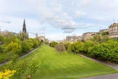 Princes Street Gardens. Edinburgh/Scotland - May 20, 2015: Ona partly sunny day in Edinburgh Scotland overlooking the Princes Street Gardens in lush green stock photo