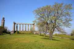 EDINBURGH, SCOTLAND: Nelson Monument and National Monument in Calton Hill Stock Image