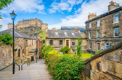 Scenic sight in Edinburgh old town, Scotland. stock photos