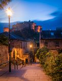 Scenic night sight in Edinburgh old town, Scotland. Edinburgh is Scotland`s compact, hilly capital. It has a medieval Old Town and elegant Georgian New Town Royalty Free Stock Photo