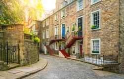 Scenic sight in Edinburgh old town, Scotland. Edinburgh is Scotland`s compact, hilly capital. It has a medieval Old Town and elegant Georgian New Town with Stock Photo