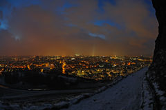 Edinburgh, Scotland, skyline at night in winter Royalty Free Stock Images
