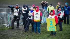 EDINBURGH, SCOTLAND, UK – January 10, 2015 - various press photographers at the Great Edinburgh Cross Country Run event. This M. En's Invitational 4k race royalty free stock images