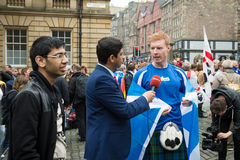 EDINBURGH, SCOTLAND, UK – September 18, 2014 - Independence referendum day. EDINBURGH, SCOTLAND, UK – September 18, 2014 - man expressing his royalty free stock image