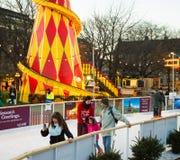 EDINBURGH, SCOTLAND, UK – December 08, 2014 - People enjoying skating during Edinburgh christmas market Royalty Free Stock Image