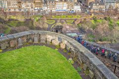 Tourists taking panoramic pictures in Edinburgh, Scotland. Edinburgh, Scotland, UK - 10 February 2018: Edinburgh Castle. Cemetery for soldiers dogs. Tourists royalty free stock photo
