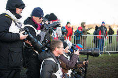 EDINBURGH, SCOTLAND, UK, January 10, 2015 - various press photographers at the Great Edinburgh Cross Country Run event. stock photos