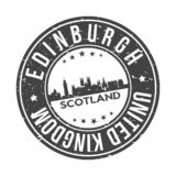 Edinburgh Scotland UK Round Button City Skyline Design Stamp Vector Travel Tourism. Skyline with emblematic Buildings and Monuments of this famous city vector illustration