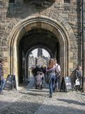 Edinburgh / Scotland / UK - 04/20/2014: View at the interior Edinburgh Castle, detail of walls medieval fortress principal gate, a royalty free stock photo