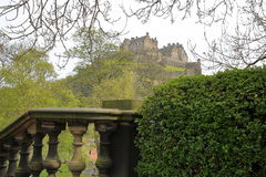 EDINBURGH, SCOTLAND:View of Edinburgh Castle from Princes Street Gardens. View of Edinburgh Castle from Princes Street Gardens royalty free stock image