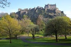EDINBURGH, SCOTLAND: View of Edinburgh Castle and Princes Street Gardens with spring colors. View of Edinburgh Castle and Princes Street Gardens with spring stock image
