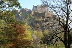 EDINBURGH, SCOTLAND: View of Edinburgh Castle and Princes Street Gardens with spring colors. View of Edinburgh Castle and Princes Street Gardens with spring stock photos