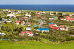 Edinburgh of the Seven Seas town aerial panoramic view, Tristan da Cunha, the most remote inhabited island, South Atlantic Ocean. royalty free stock image