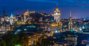 Edinburgh Skyline in the BlueHour. View from Carlton Hill stock photography