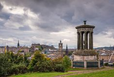 Edinburgh Skyline and Dugald Stewart Monument royalty free stock photography