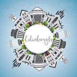 Edinburgh Skyline with Gray Buildings, Blue Sky and Copy Space. Vector Illustration. Business Travel and Tourism Concept with Historic Architecture. Image for stock illustration