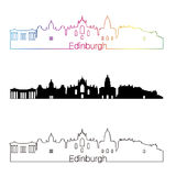 Edinburgh skyline linear style with rainbow Royalty Free Stock Images