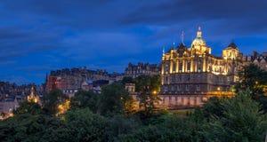 Edinburgh-Skyline nachts Lizenzfreie Stockfotografie