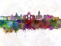 Edinburgh skyline in watercolor background Stock Photography