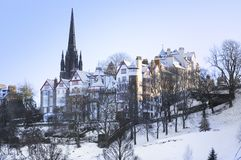 edinburgh snow Royaltyfria Bilder