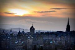 edinburgh solnedgång Arkivbild