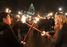 Edinburgh torchlight procession Stock Images
