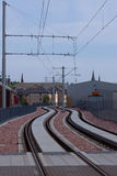 Edinburgh tram lines at Murrayfield Royalty Free Stock Photos