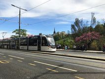 Edinburgh tram on Princes Street Royalty Free Stock Photos