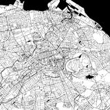 Edinburgh, UK, Downtown Vector Map. Edinburgh Downtown Vector Map Monochrome Artprint, Outline Version for Infographic Background, Black Streets and Waterways royalty free illustration