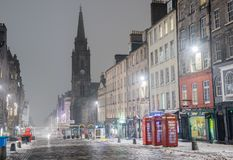 Royal Mile in Edinburgh on a Foggy Winter Night stock images