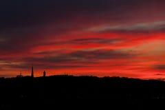 Edinburgh under nighttimen Arkivfoton