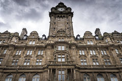 Edinburgh, United Kingdom - August 15, 2014: View of the Balmoral Hotel facade. Balmoral is a luxury five-star property Stock Images