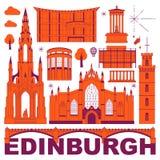 Edinburgh vector culture travel set royalty free illustration