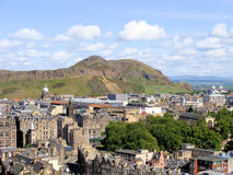 Edinburgh view. Panoramic view over the Old Town and Arthur's Seat from Edinburgh castle, Scotland Stock Image