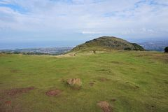 Edinburgh - view from Arthur`s seat to the sea Stock Photography