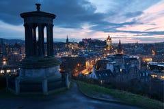 Edinburgh. View of Edinburgh at dusk from Calton Hill Stock Photos